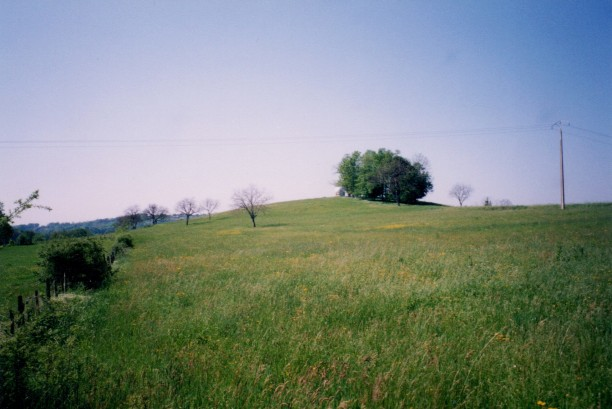 Vue du terrain en contrebas, le petit observatoire est visible tout en haut