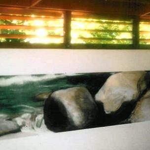 Acrylique sur mur peint, 220 cm x 50 cm
